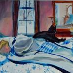 "Snow Day, 18""x34"", oil on canvas, Martha Lindenborg Vaught"