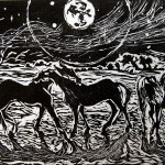 """Rain, Says the Moon"", linocut, Martha Lindenborg Vaught"