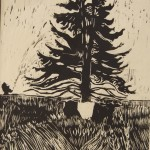 """Tree Cow"",woodcut, 14""x8"",MCLVaught,"