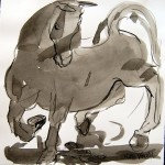 """Horse and Rabbit"", inkwash, 10""x10"", MVaught"