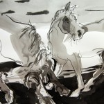 Two Ponies Broadside, inkwash, Martha Vaught, 17x29 inches