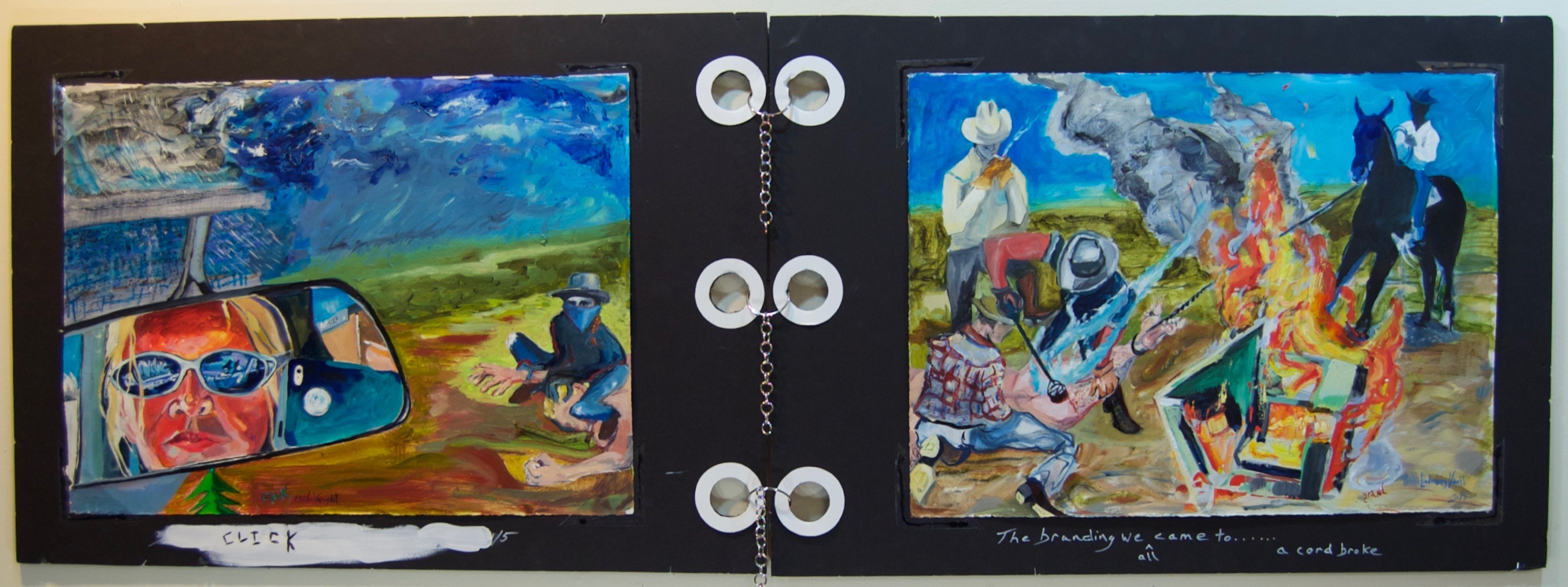 Click Brand oil on gessoed Rives BFK, gator board, chain, mylar, 2014 28 x 80
