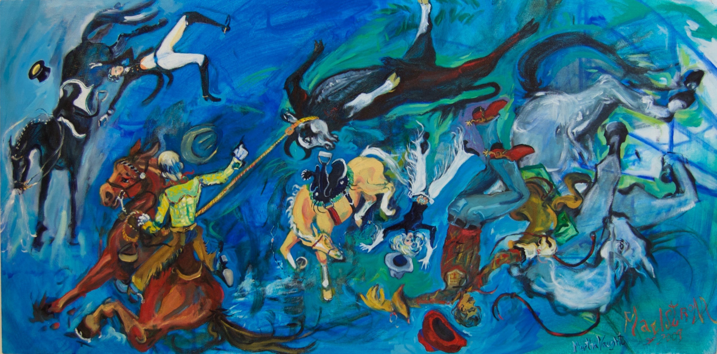 "Maelstrom 2009, oil on canvas, 24"" x 48', 2010, by Martha Lindenborg Vaught"