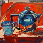 """China Blue Tea Cup with Aluminum Teapot"", oil on panel, 12x12"", Martha Lindenborg Vaught"