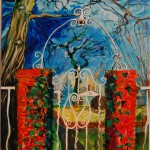 Irvington Garden Gate , acrylic on canvas, Martha Lindenborg Vaught