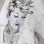 Girl With Mohawk, inkwash, July 2012, Martha Lindenborg Vaught