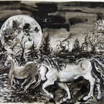 Pale Horses Cross the Moonlit Water, inkwash, Martha Lindenborg Vaught Aug 2012