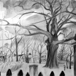 """Kyle Oak in Irvington in March"", Graphite on Rives BFK, Martha Lindenborg Vaught"