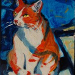 Pup Cat at the Barn, very small painting oil on panel, Martha Lindenborg Vaught