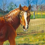 """""""Ilexya as The Other"""" large scale oil on canvas 3ft square, by Martha Lindenborg Vaught"""