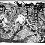W.W.J.D?, large scale woodcut, Martha Lindenborg Vaught.