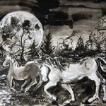 """Moonlit Crossing"", Martha Lindenborg Vaught, inkwash"