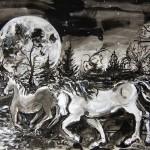 """Moonlit Crossing"", Martha Lindenborg Vaught, inkwash"