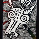 Rode, Stress, Burn - Color Woodcut by Martha Lindenborg Vaught