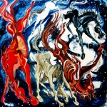 Horses from the sky fall - painting by Martha Lindenborg Vaught