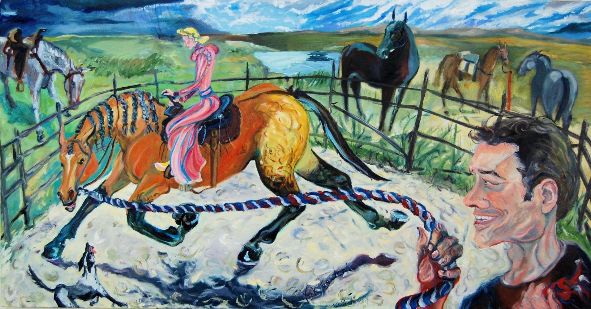 Yank, Tug, Jerk - Painting by ML Vaught