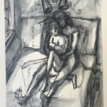 """Midnight Nursing"" (sketch for new work) by Martha Lindenborg Vaught"