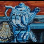 Blue Teapot and South Carolina Shell by Martha Lindenborg Vaught