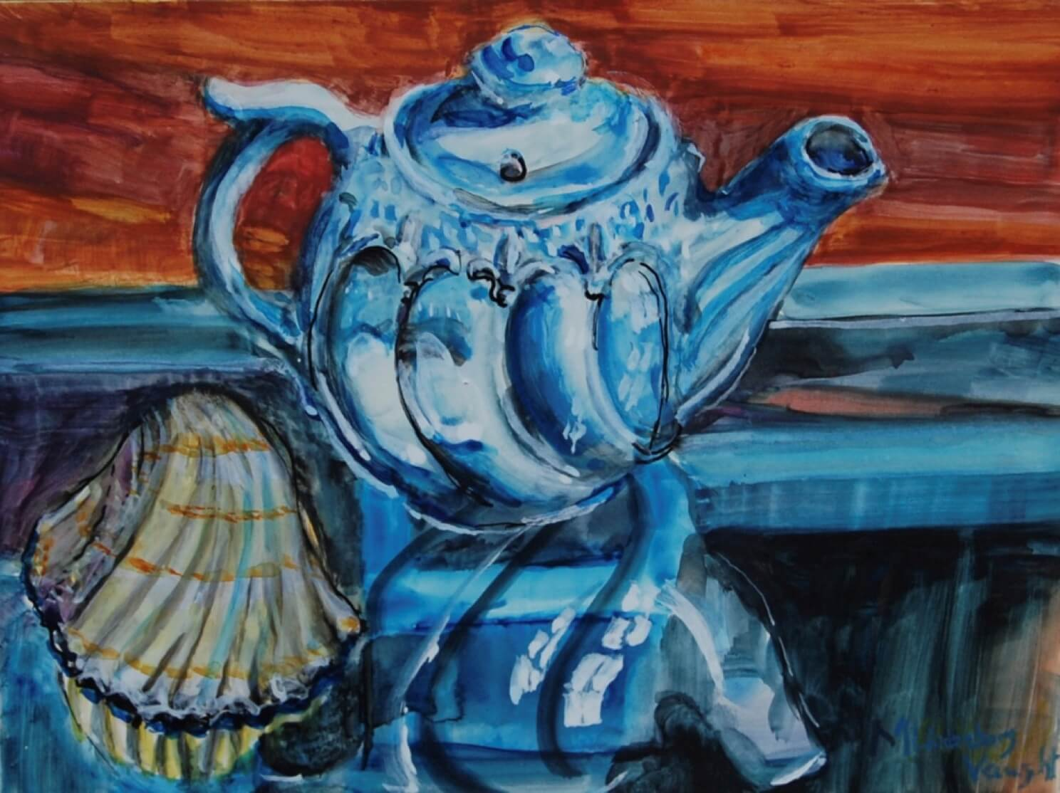 Blue Teapot and South Carolina Shell by Martha Lindenborg Vaught