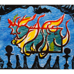 "Burning Indiana, color woodcut, 6.5"" x 8"", 2012 by Martha Lindenborg Vaught"