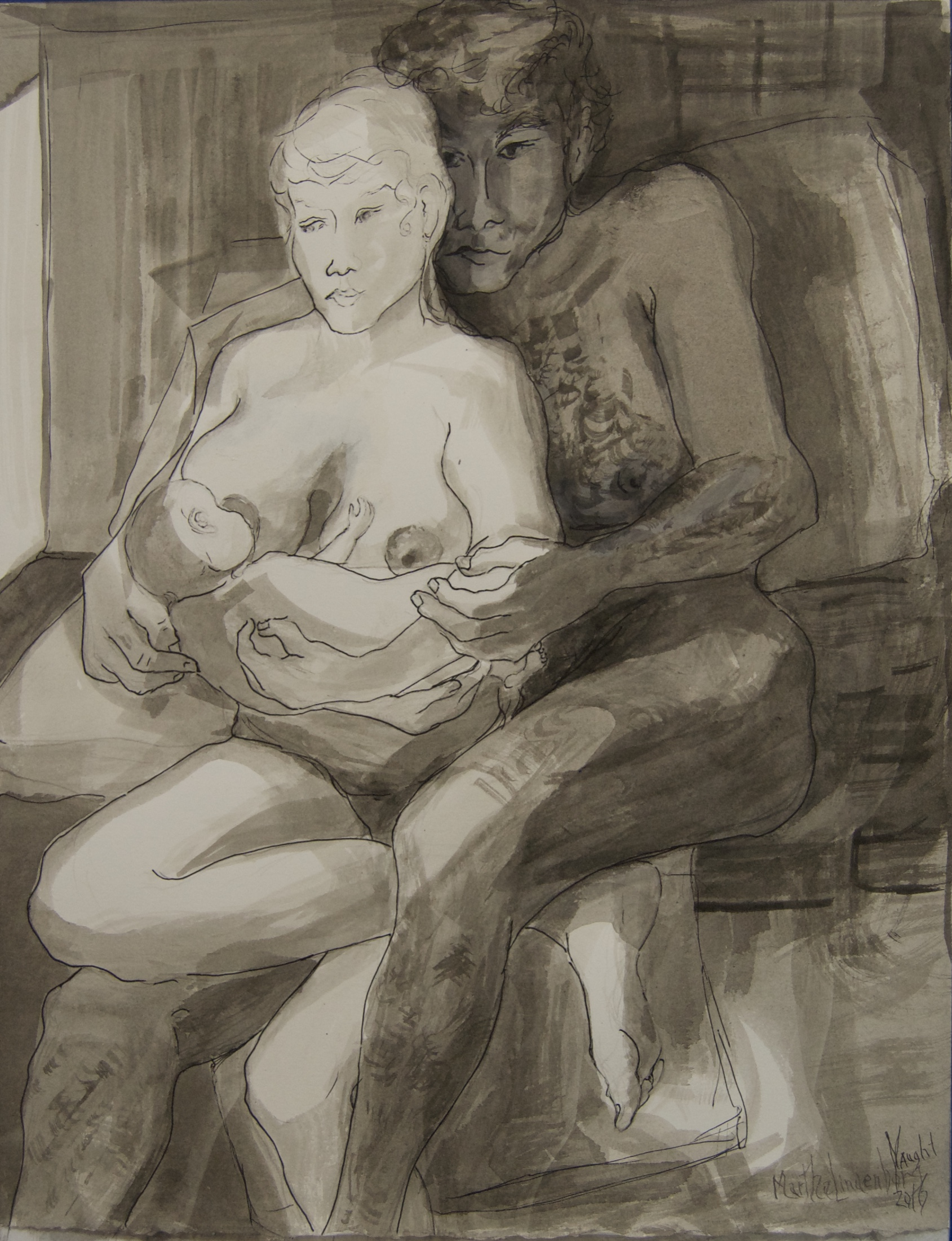Moonlit Nursing, Robin and Aggie 1986 ink wash on Rives BFK, 12x16 2016 by Martha Lindenborg Vaught