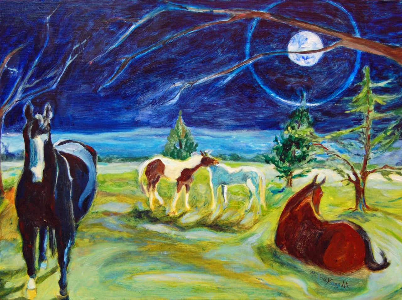 Equine Nocturne by Martha Lindenborg Vaught oil on panel Oct 2011
