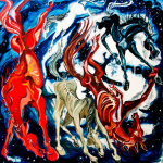 Horses From the Sky Fall oil on canvas by Martha Lindenborg Vaught