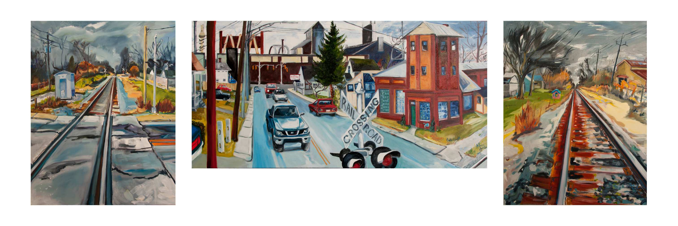 IceHouse Harvest Irvington and the B & O Rails, oil on canvas Triptych. side panels 24 x 30, center 24 x 48, 2014 by Martha Lindenborg Vaught