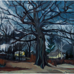 "Kyle Oak in November, Irvington Series, oil on canvas, 24"" x 30"", 2013, by Martha Lindenborg Vaught"