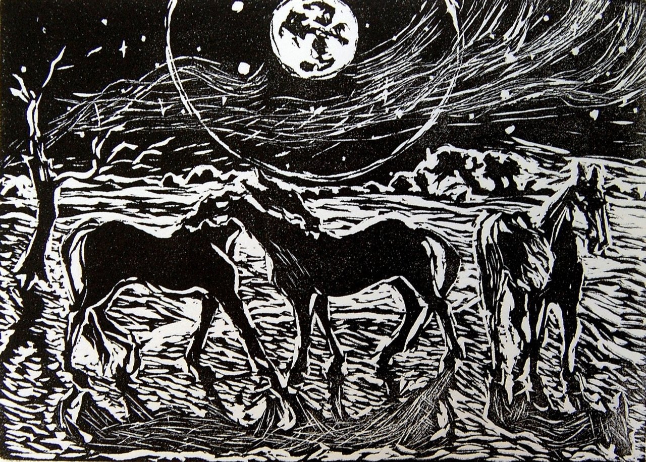 Rain, Says the Moon, linocut, Martha Lindenborg Vaught