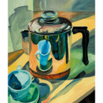Revereware Coffeepot with Blue Cup by Martha Lindenborg Vaught